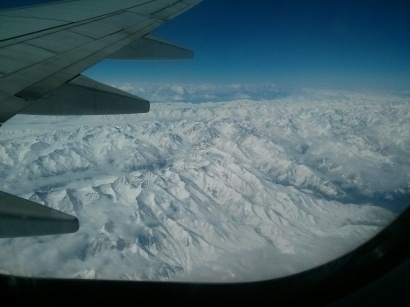 Snowcapped mountains from the plane