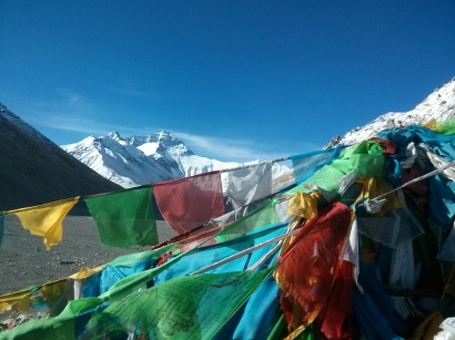 Mount Everest plus prayer flags